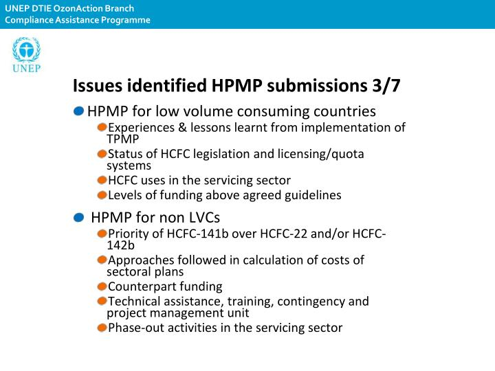 Issues identified HPMP submissions 3/7