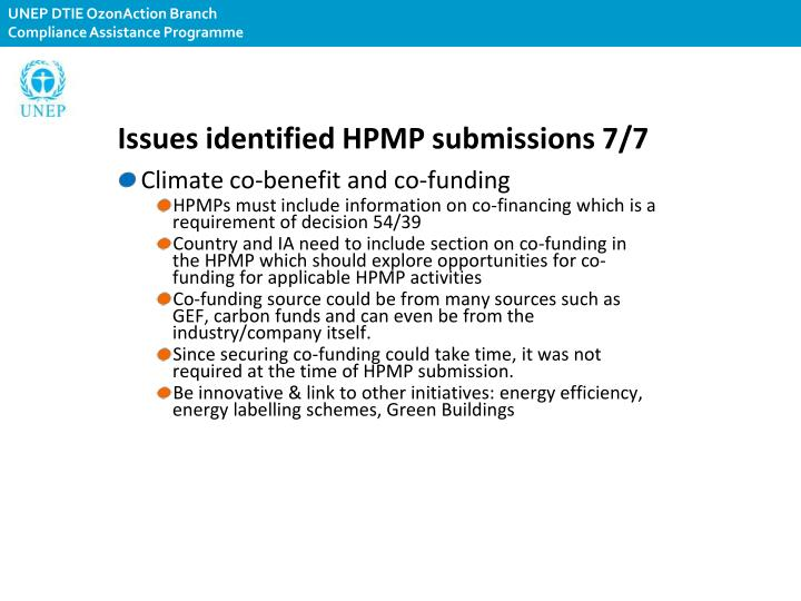 Issues identified HPMP submissions 7/7