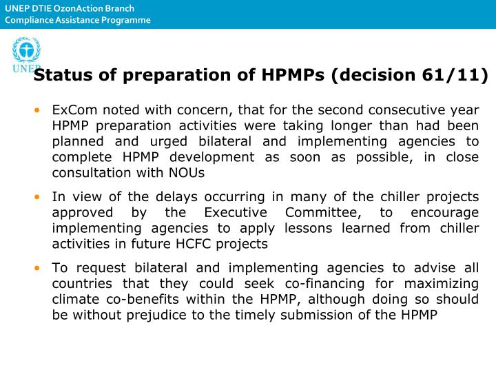 Status of preparation of HPMPs (decision 61/11)