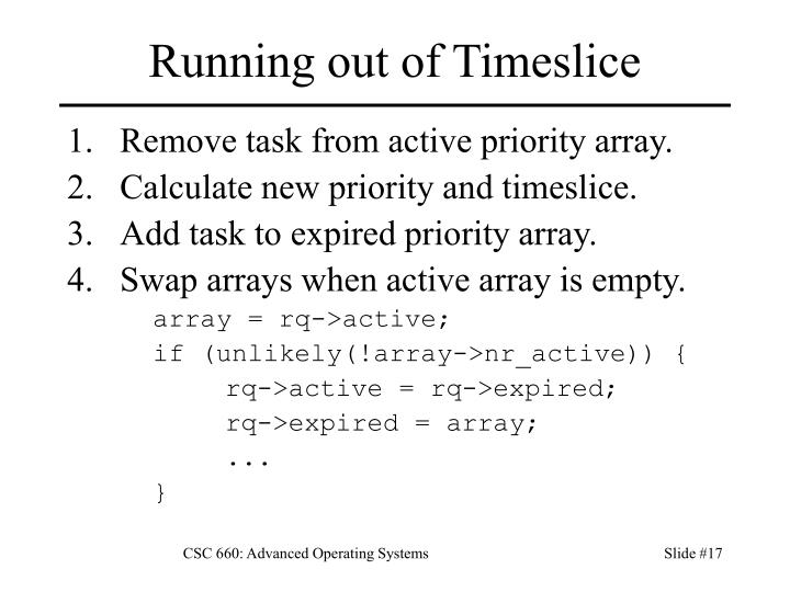 Running out of Timeslice