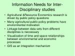 information needs for inter disciplinary studies
