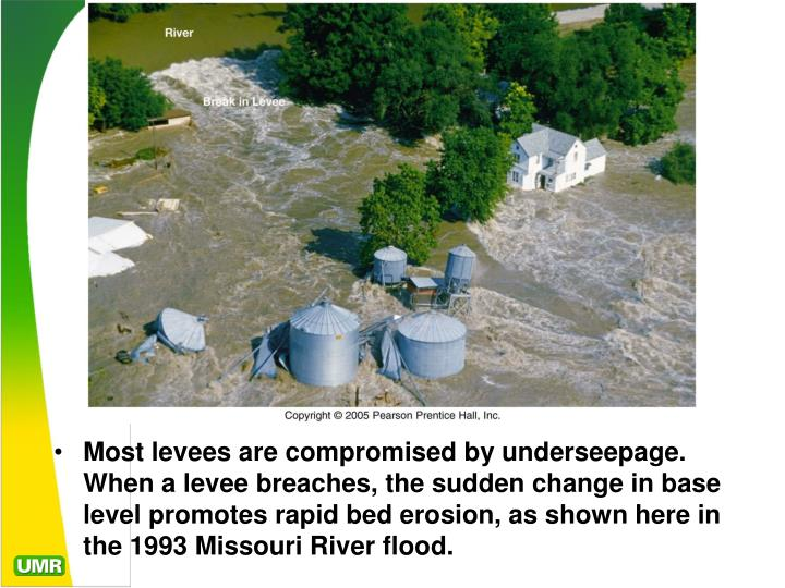 Most levees are compromised by underseepage. When a levee breaches, the sudden change in base level promotes rapid bed erosion, as shown here in the 1993 Missouri River flood.