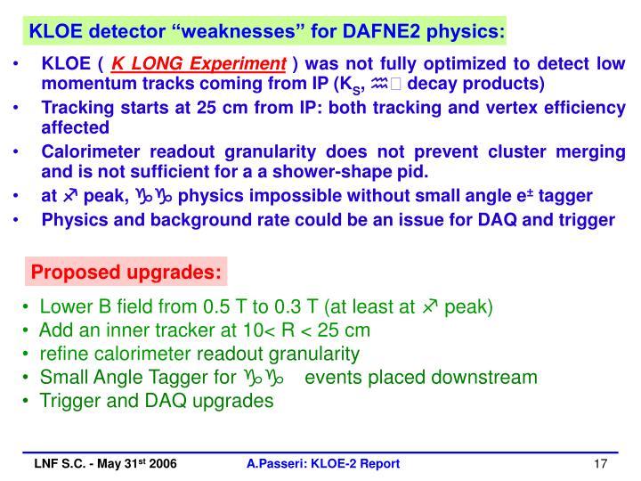 """KLOE detector """"weaknesses"""" for DAFNE2 physics:"""