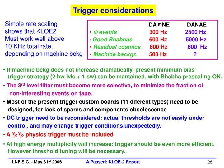 Trigger considerations