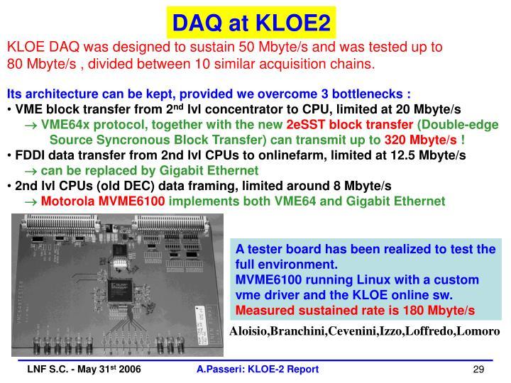 DAQ at KLOE2