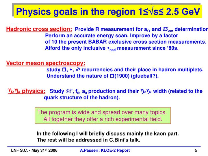 Physics goals in the region 1