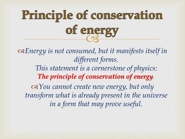 Principle of conservation of energy