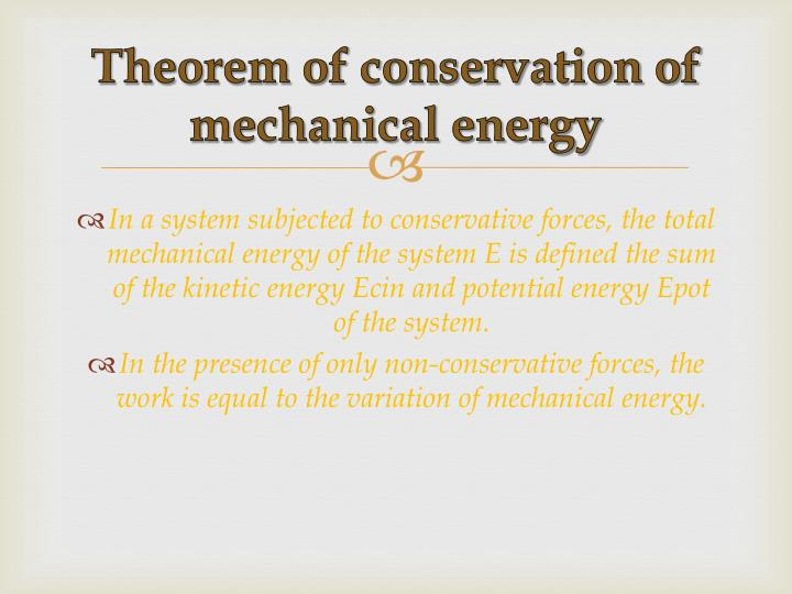 Theorem of conservation of mechanical energy