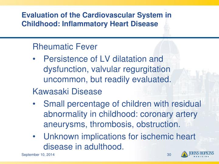 Evaluation of the Cardiovascular System in Childhood: Inflammatory Heart Disease