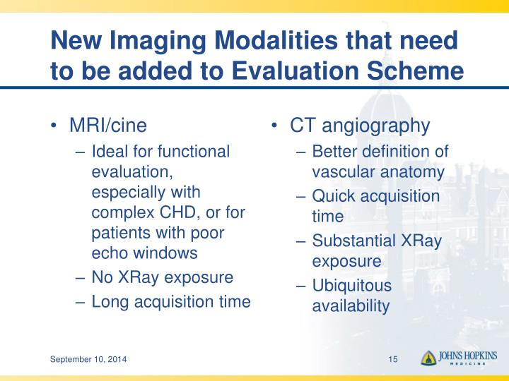 New Imaging Modalities that need to be added to Evaluation Scheme