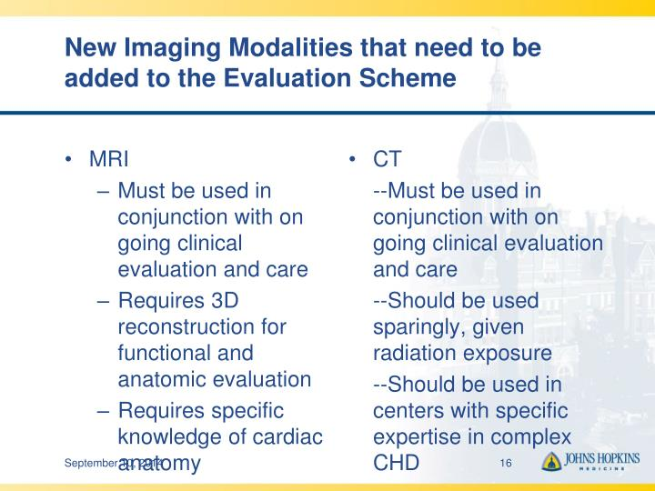 New Imaging Modalities that need to be added to the Evaluation Scheme