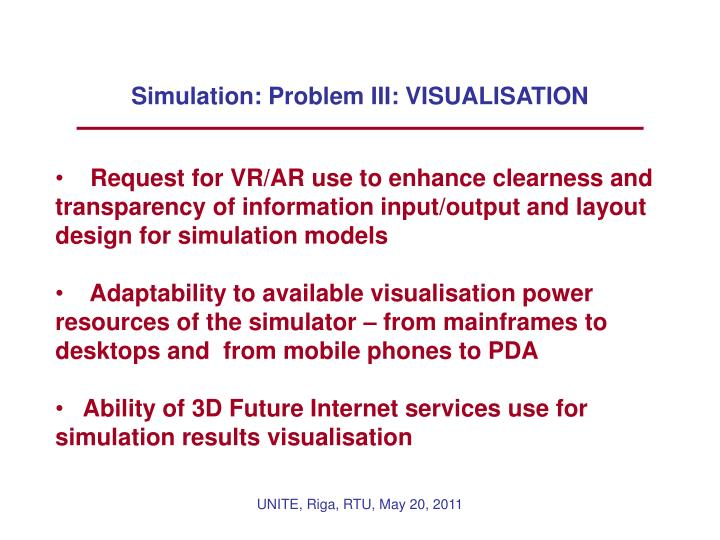 Simulation: Problem III: VISUALISATION