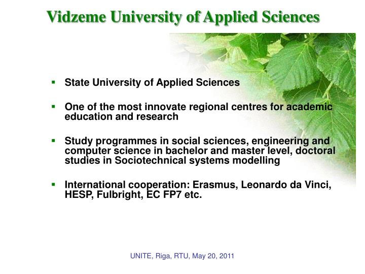Vidzeme university of applied sciences1