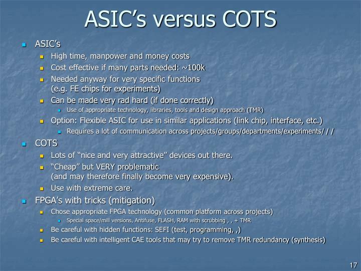 ASIC's versus COTS