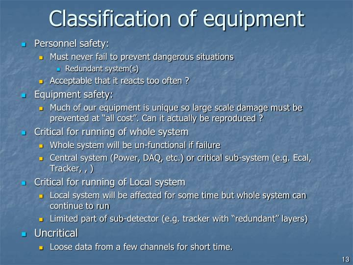 Classification of equipment
