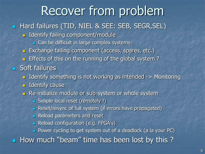 Recover from problem