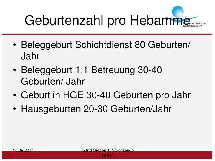 Geburtenzahl pro Hebamme