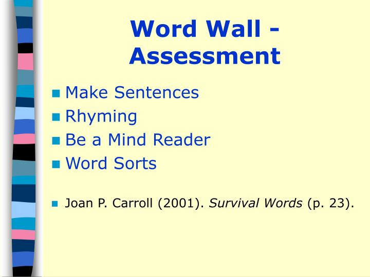 Word Wall - Assessment