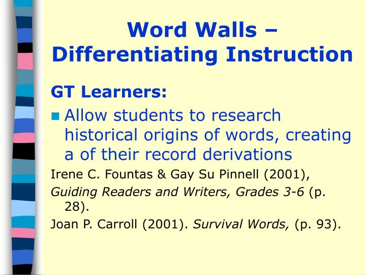 Word Walls – Differentiating Instruction
