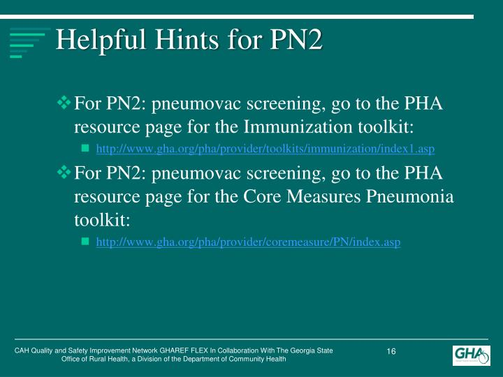 Helpful Hints for PN2