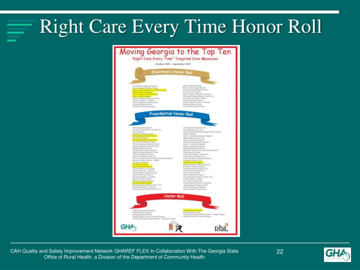 Right Care Every Time Honor Roll