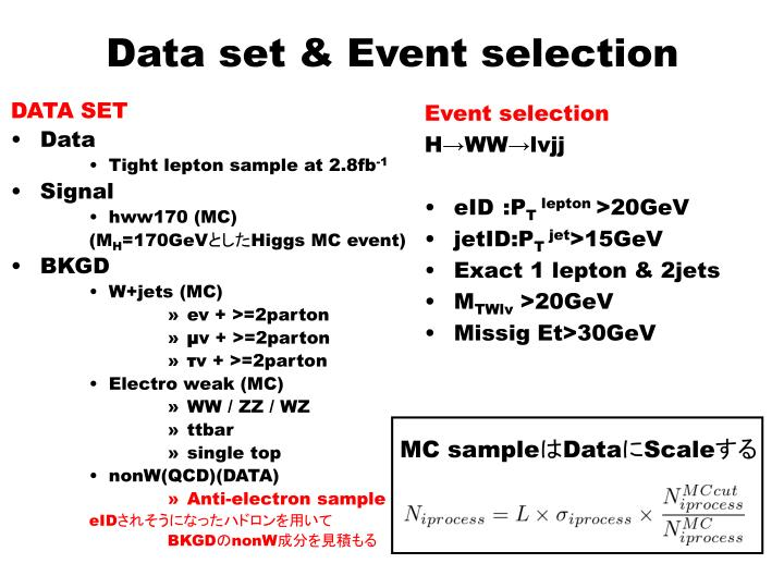 Data set event selection