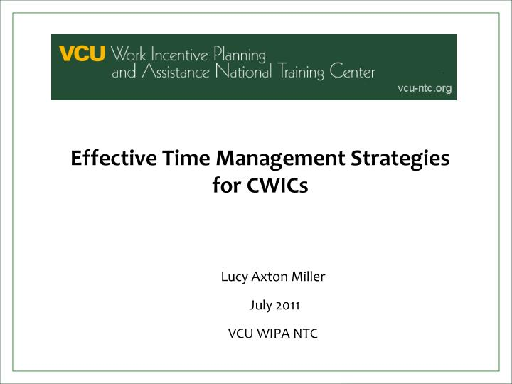 Effective time management strategies for cwics