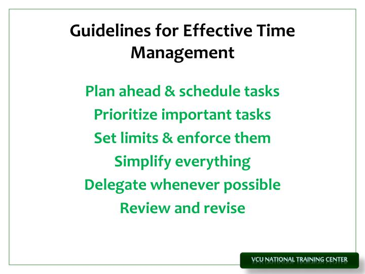 Guidelines for Effective Time Management