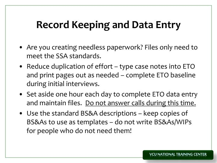 Record Keeping and Data Entry