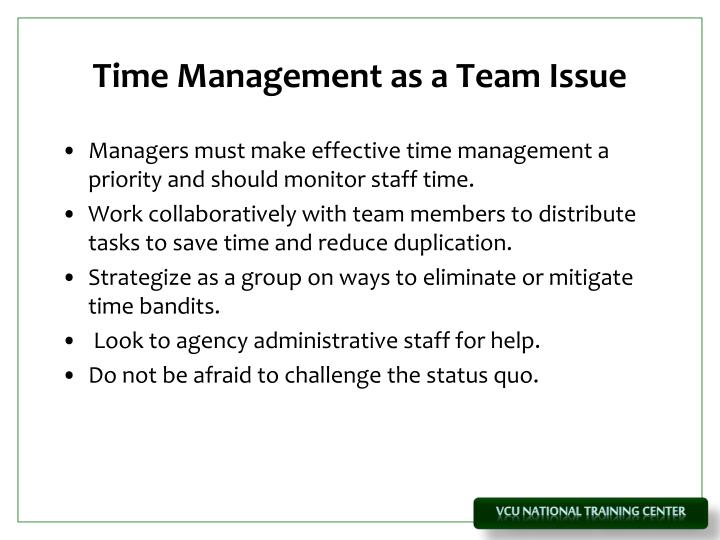 Time Management as a Team Issue