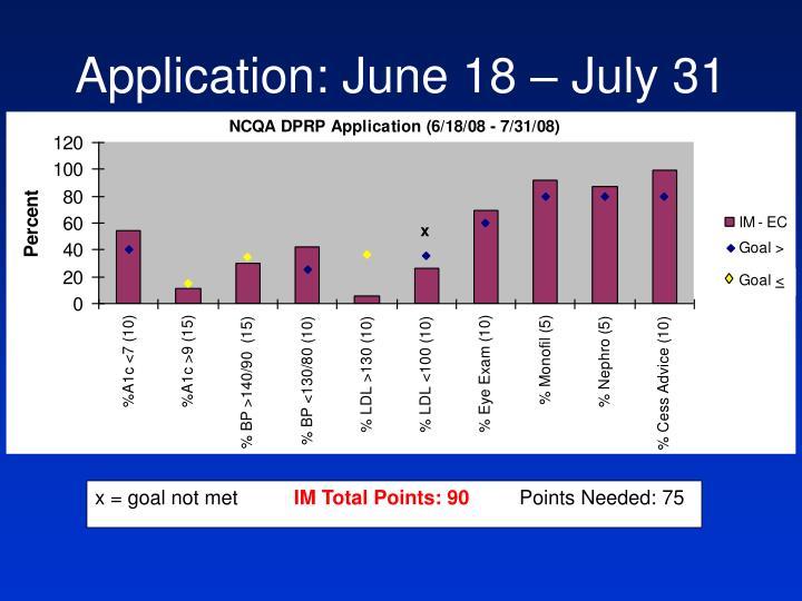 Application: June 18 – July 31