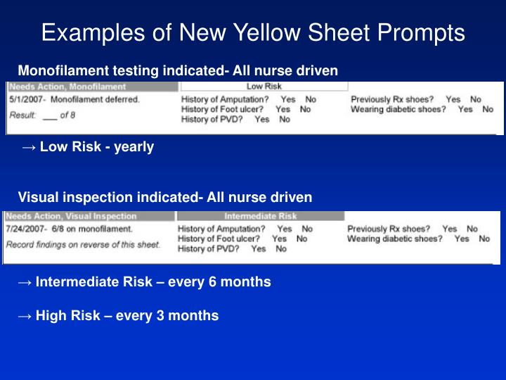 Examples of New Yellow Sheet Prompts