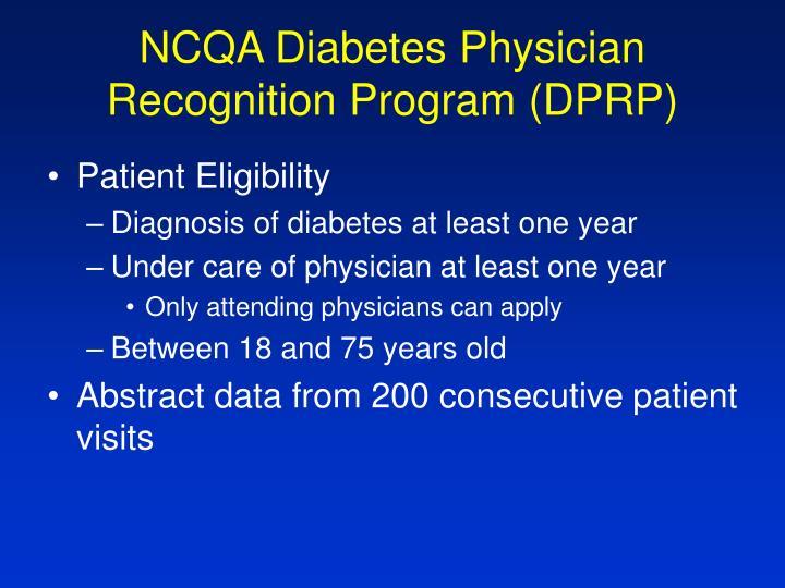 NCQA Diabetes Physician Recognition Program (DPRP)