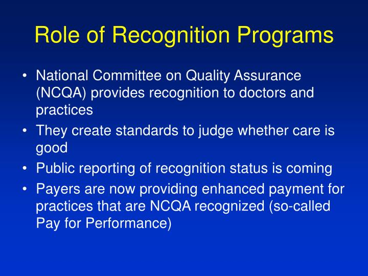 Role of Recognition Programs