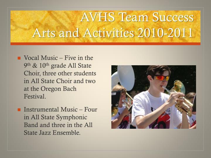Avhs team success arts and activities 2010 2011