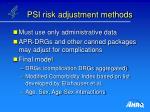 psi risk adjustment methods
