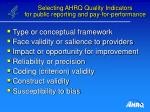selecting ahrq quality indicators for public reporting and pay for performance