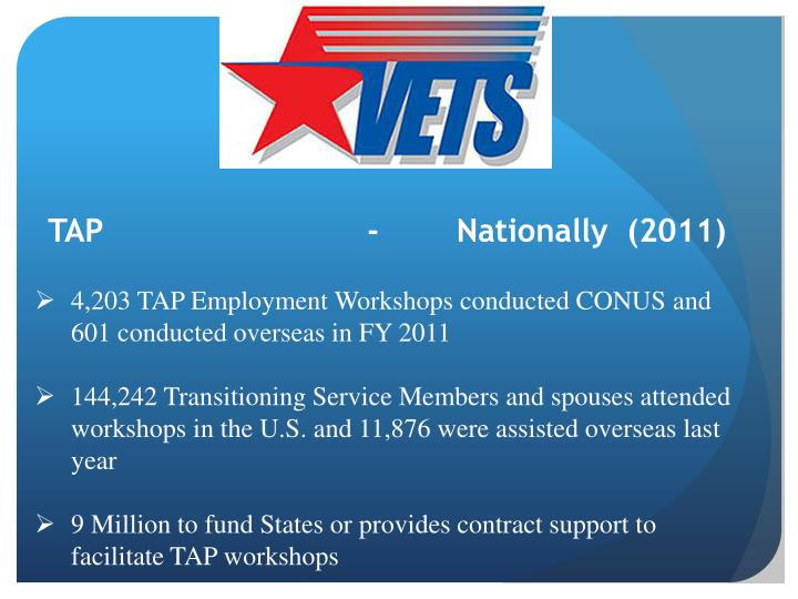 TAP                -        Nationally  (2011)