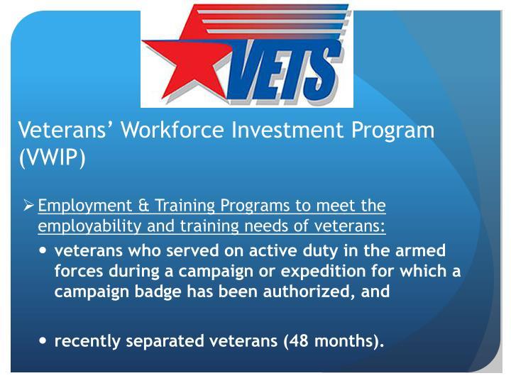 Veterans' Workforce Investment Program (VWIP)