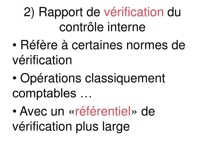2) Rapport de