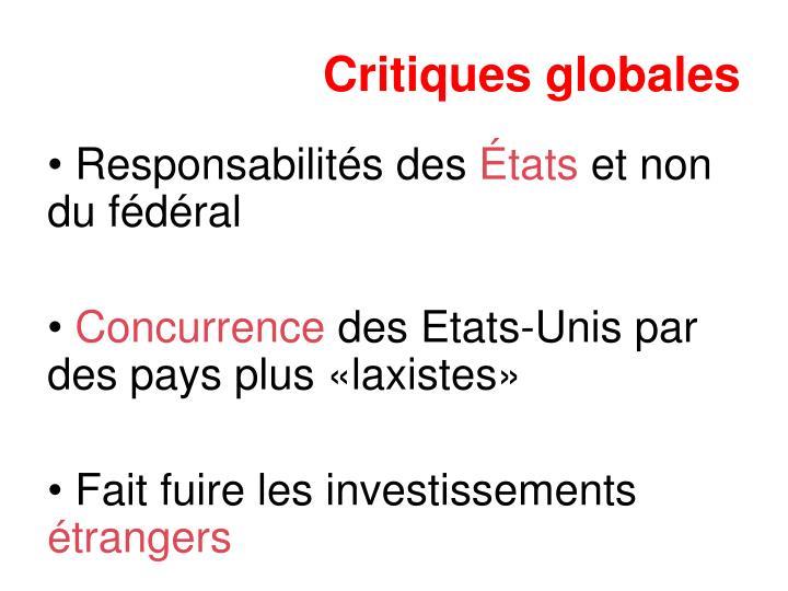 Critiques globales