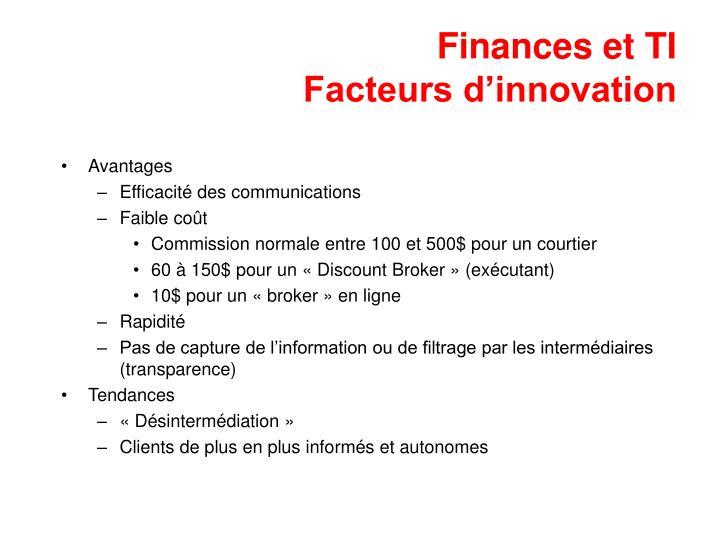 Finances et ti facteurs d innovation
