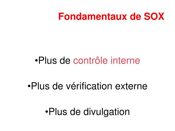 Fondamentaux de SOX