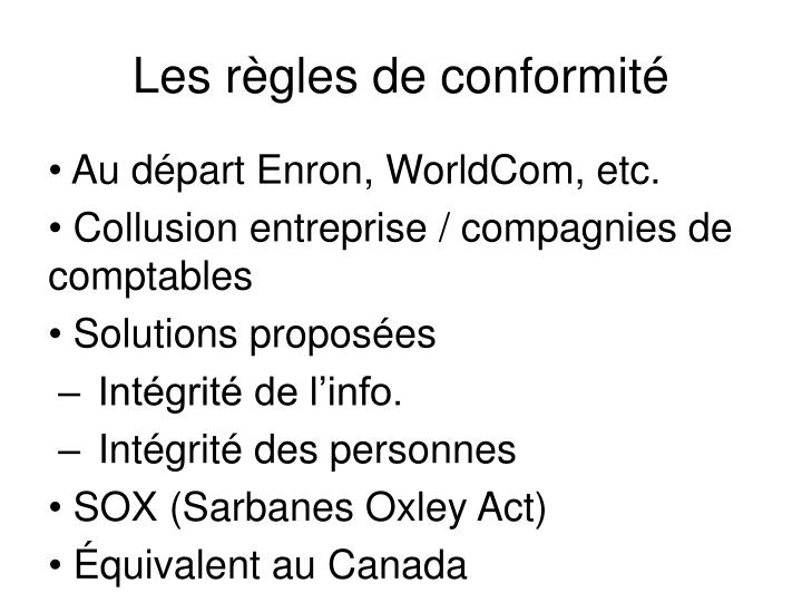 Les règles de conformité