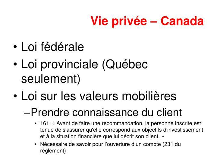 Vie privée – Canada