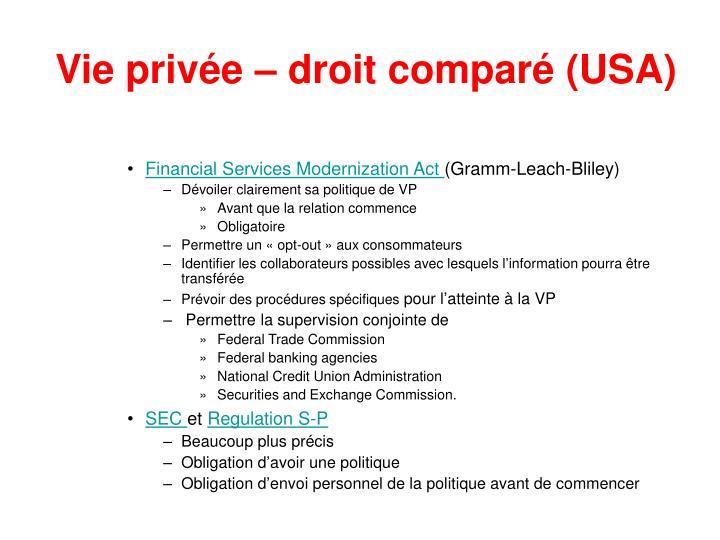 Vie privée – droit comparé (USA)