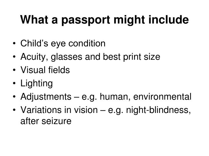 What a passport might include