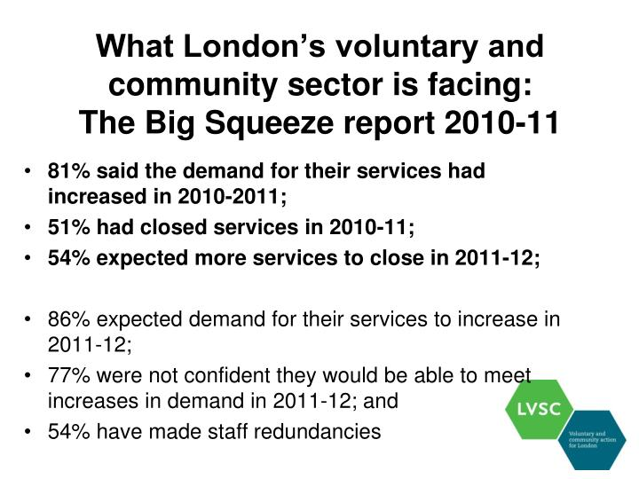 What london s voluntary and community sector is facing the big squeeze report 2010 11