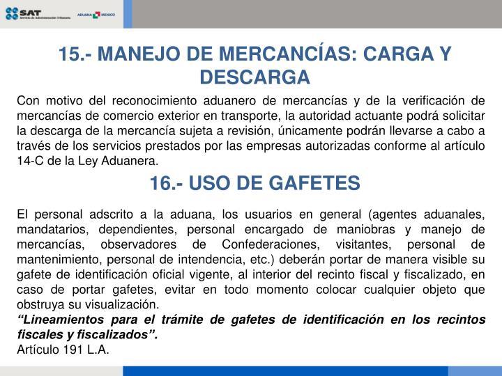 15.- MANEJO DE MERCANCÍAS: CARGA Y DESCARGA