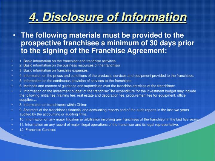 4. Disclosure of Information